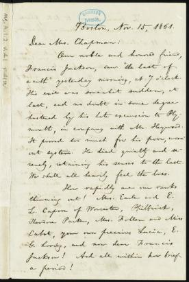 [Letter to] Dear Mrs. Chapman by William Lloyd Garrison